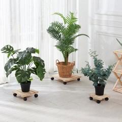 편백나무 원목 이동식 화분받침대 사각 33cm