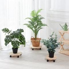 편백나무 원목 이동식 화분받침대 원형 26cm