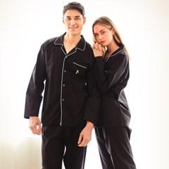 남성긴팔잠옷 블랙 코튼 긴소매 순면 페어 7026(남성)