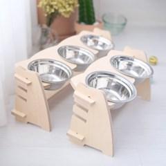 엉클펫 강아지 고양이 높이조절 자작나무 식탁 밥그릇 2구/3구