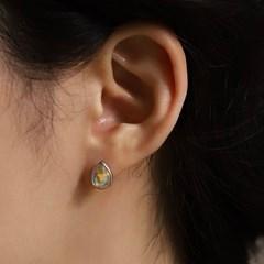실버925 데일리 미니 오팔 원석 물방울 큐빅 탄생석 귀걸이