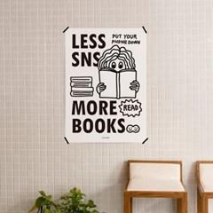 SNS를 줄이고 독서를 더 M 유니크 인테리어 디자인 포스터 책 도서관
