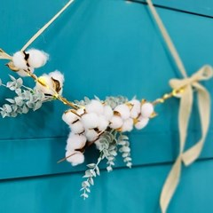 LED감성핑크 목화 프리저브드 가랜드 조화 꽃 벽장식 벽걸이 북유럽