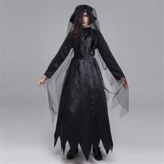 뱀파이어 신부 검은 드레스 마녀 할로윈 코스튬 파티  H