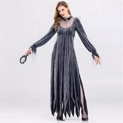 할로윈 뱀파이어신부 마녀 검은 드레스 코스튬 파티복  H