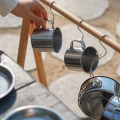 냄비 후라이팬 컵 접시 스텐 코펠 캠핑 식기 8P 세트