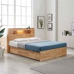 [스코나]제니토 원목 LED 4서랍 퀸 침대(매트별도)