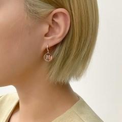 [오팔하우스]925Silver H이니셜 서클 원터치 귀걸이 OPMUE11574