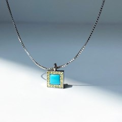 925 silver 천연 터키석 프레임 네크리스