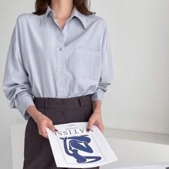여자 가을 루즈핏 카라 빅포켓 단추 기본 베이직 박시 셔츠남방