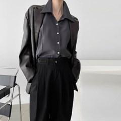 여자 가을 루즈핏 카라 핀턱 절개 기본 베이직 레이온 셔츠남방