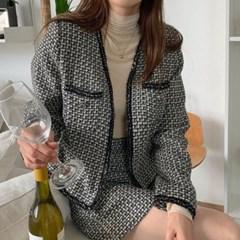 여자 가을 투피스 루즈핏 노카라 트위드 자켓 H라인 미니스커트