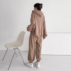 여자 가을 투피스 오버핏 끈 배색 후드 맨투맨 밴딩 조거팬츠 세트