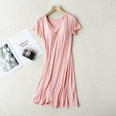 모달 브라캡 반팔 원피스 홈웨어 잠옷