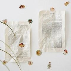 엔틱 소녀천사 벽포스터 양면엽서 스티커set