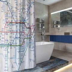 런던 지하철 무늬 욕실 샤워 커튼 커텐