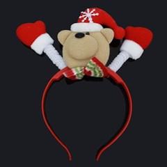 곰돌이 크리스마스 머리띠 LED 불빛 행사소품