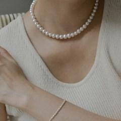 클래식 진주 목걸이 925은 여성스러운 담수진주 은목걸이