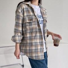 여자 가을 루즈핏 카라 빅포켓 단추 플란넬 체크 셔츠남방