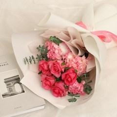 핑크 로즈 꽃다발 (생화, 전국택배)