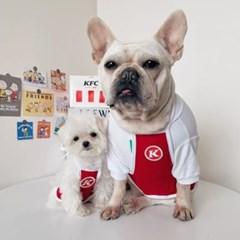 고양이 강아지 치킨 종업원 앞치마 티셔츠