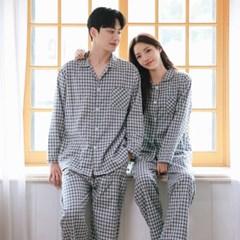 순면100% 기모 베이직 체크 커플 잠옷 파자마