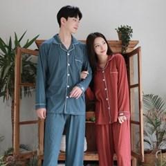 신축성 좋은 큐브 피치기모면 커플 잠옷