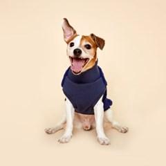 플로트 플러피후리스 하프넥민소매 강아지옷 네이비