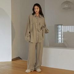 [커먼유니크] 라타 세트-업 큐브라 와이드 슬랙스