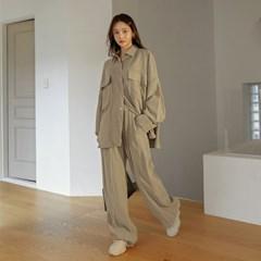 [커먼유니크] 라타 세트-업 큐브라 오버 핏 셔츠