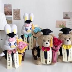 [수능졸업선물]리코 테드 학사모 졸업식 인형꽃다발 선물세트