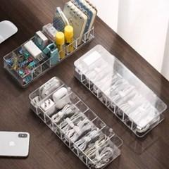 투명한 칸막이 USB 케이블 타이 다용도 소품 정리함 2종
