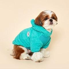 플로트 플러피후리스 베어후드 강아지옷 터키쉬블루
