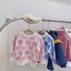 핑크하트진주스웨터