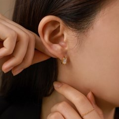 실버925 데일리 사각 스퀘어 컷팅 큐빅 원터치 은 링 귀걸이