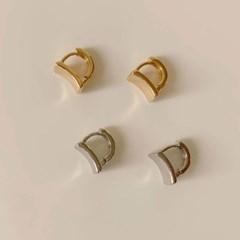 [귀찌가능] 커브 사각 딱붙는 원터치 귀걸이