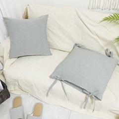 멜란지 워싱 솔리드 끈 방석 쿠션 - 3color