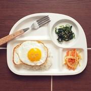 2인식탁-화이트 도자기식판2개+원형볼2개