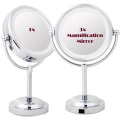 샤이니 LED 라이트 원형 탁상거울(소/확대경 겸용)