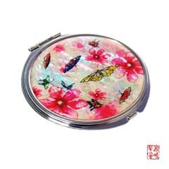 원형 손거울-수묵꽃나비