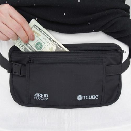 [TCUBE] RFID 개인정보 해킹방지 & 소매치기방지 안전복대-블랙