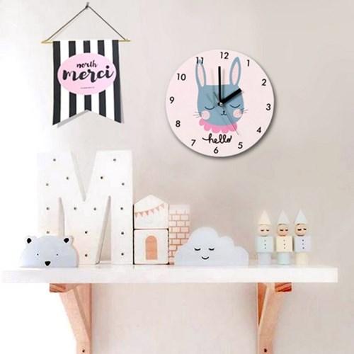 북유럽 감성 원형 무소음벽시계 (토끼)