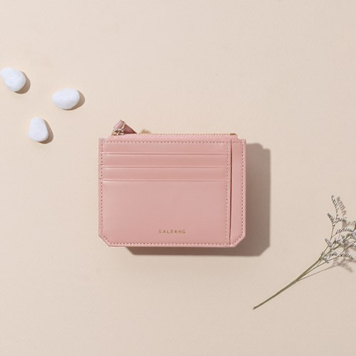 [태슬+스트랩증정]Dijon M201 Flap mini Card Wallet light pink