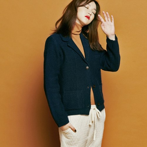 [유라고]Collar walk knit jacket