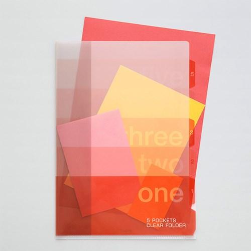 5포켓 클리어 폴더(A4) - 그라데이션-핑크
