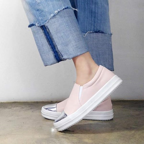 kami et muse Shiny metal toe slip on sneakers_KM17s080