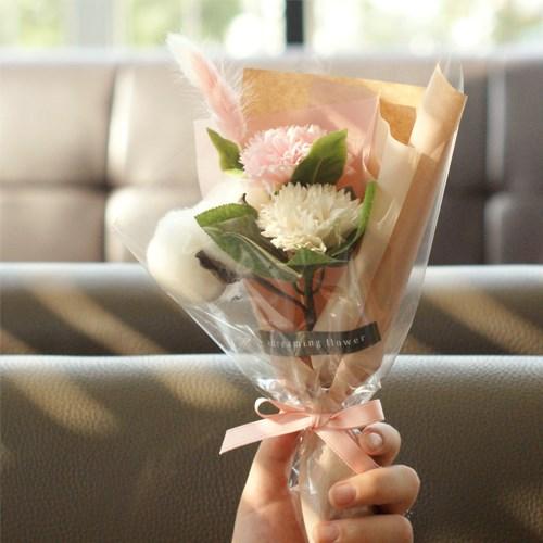 목화 카네이션 꽃다발 핑크