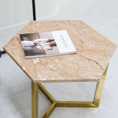 아르마블 핑크로즈 육각 대리석 테이블