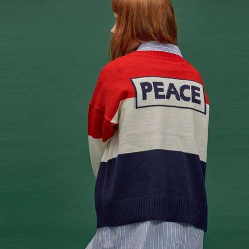 PEACE BLOCK KNIT GN