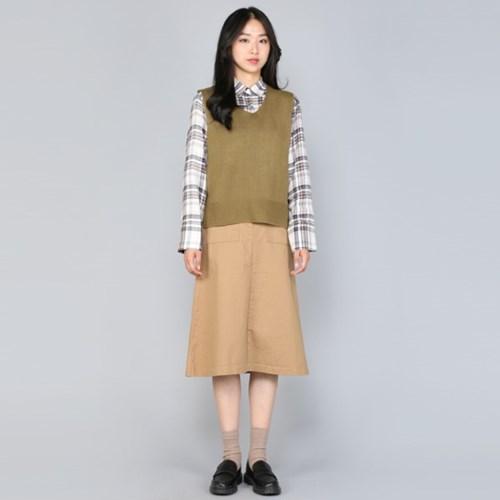 코튼 포켓 A 미들 Skirt